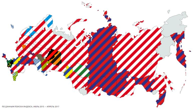 Карта российских футбольных болельщиков: каждый регион окрашен в цвета клуба, про матчи которого там спрашивали больше всего. Фото yandex.ru
