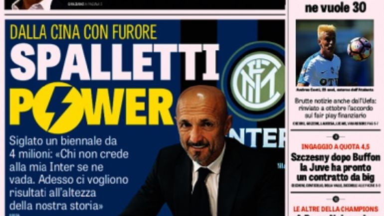 Обложка издания La Gazzetta dello Sport.
