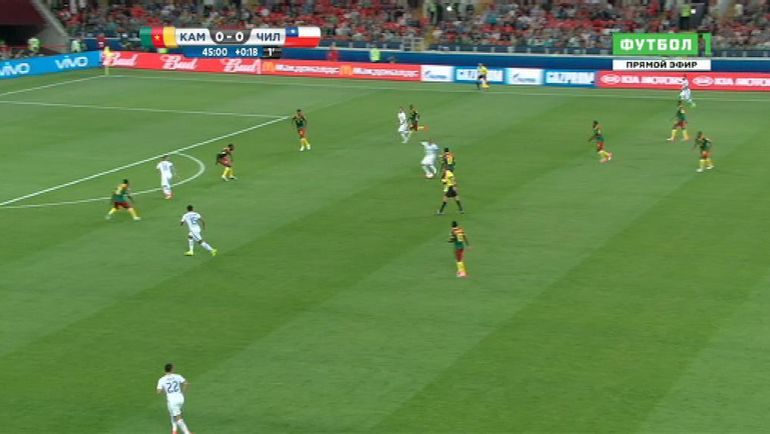 45+1-я минута матча Камерун - Чили.