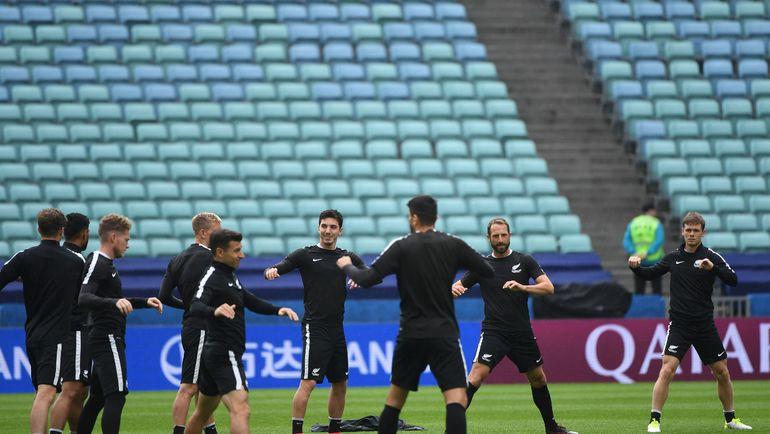 Предматчевая тренировка сборной Новой Зеландии в Сочи. Фото AFP