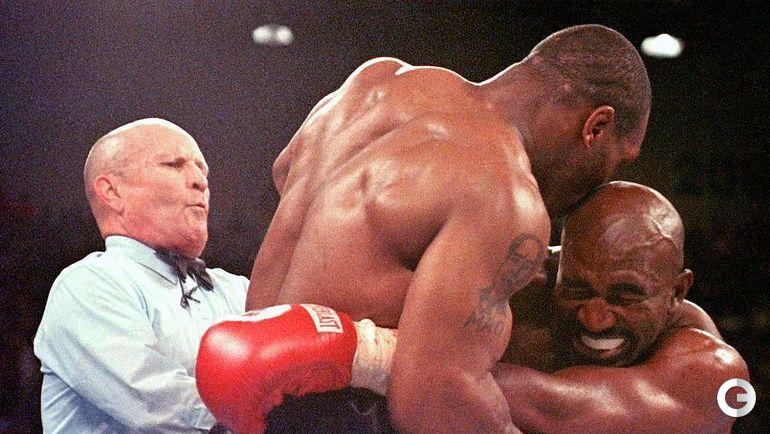 28 июня 1997 года. Лас Вегас. Майк ТАЙСОН (слева) и Эвандер ХОЛИФИЛД.