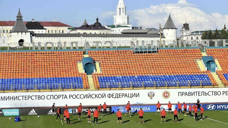 Вторник. Казань. Предматчевая тренировка сборной Чили. Фото AFP