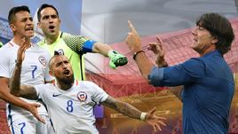 Чили - Германия: Алексис САНЧЕС, Клаудио БРАВО и Артуро ВИДАЛЬ vs Йоахим ЛЕВ.