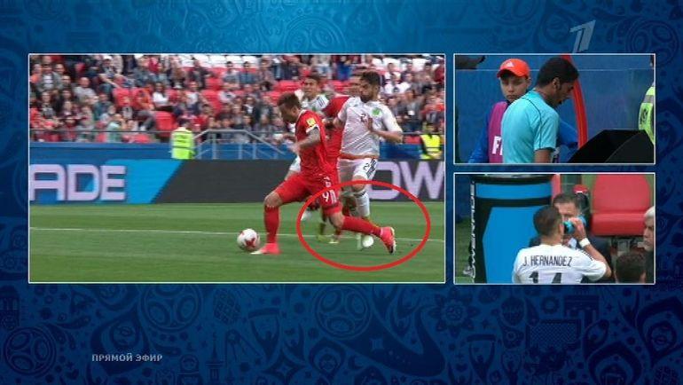 Падение Федора Смолова в матче Мексика - Россия.