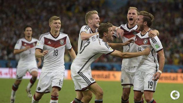 13 июля 2014 года. Рио-де-Жанейро. Германия - Аргентина - 1:0 д.в. Радость немецких футболистов. Фото AFP