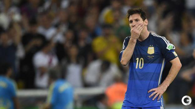 13 июля 2014 года. Рио-де-Жанейро. Германия - Аргентина - 1:0 д.в. Эмоции Лионеля МЕССИ после игры. Фото AFP