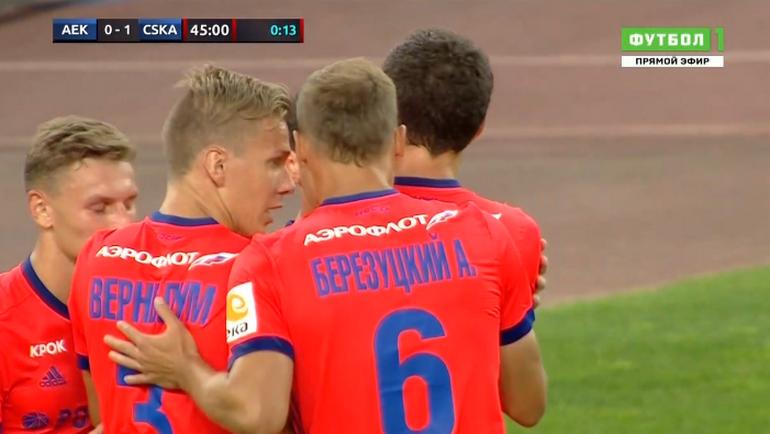 Первый гол ЦСКА в ворота АЕК.