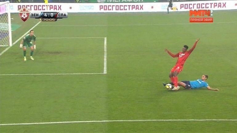 """71-я минута. Пенальти в ворота """"Зенита""""."""