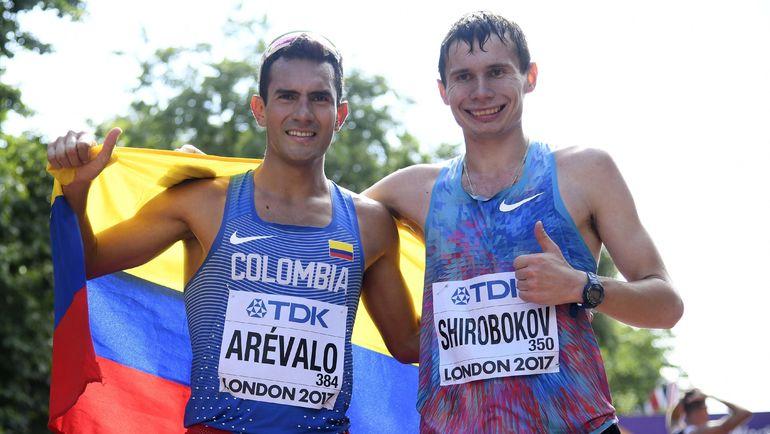 Сергей ШИРОБОКОВ (справа) и чемпион мира в ходьбе на 20 км Эйдер АРЕВАЛО. Фото REUTERS