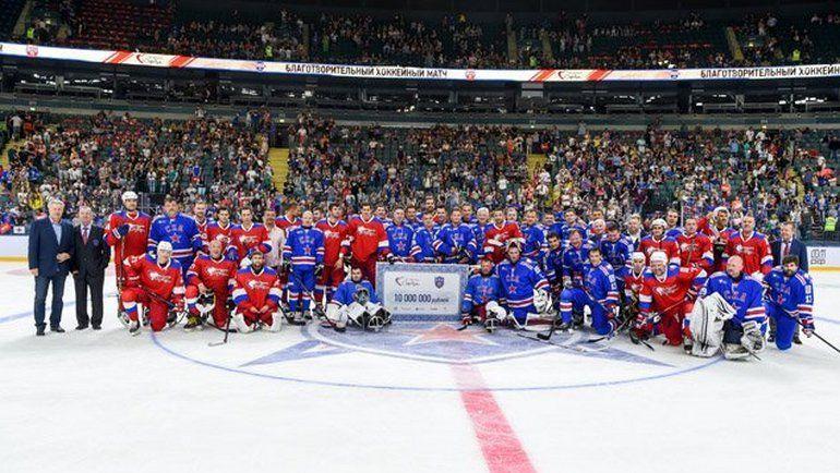 Сегодня. Санкт-Петербург. Участники благотворительного матча. Фото ХК СКА