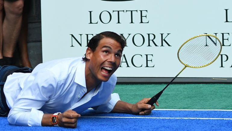 Рафаэль НАДАЛЬ на коммерческом мероприятии перед стартом US Open. Фото AFP