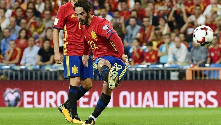 Вчера. Мадрид. Испания - Италия - 3:0. 14-я минута. ИСКО (№22) открывает счет. Фото AFP