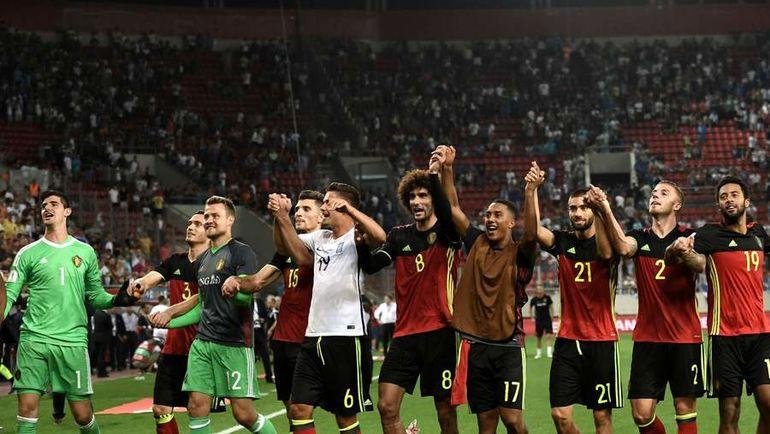 Воскресенье. Пирей. Греция – Бельгия – 1:2. Бельгийцы празднуют победу и выход на чемпионат мира-2018. Фото AFP