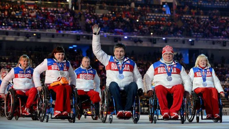 Сборная России на церемонии закрытия Игр-2014 в Сочи. Фото AFP