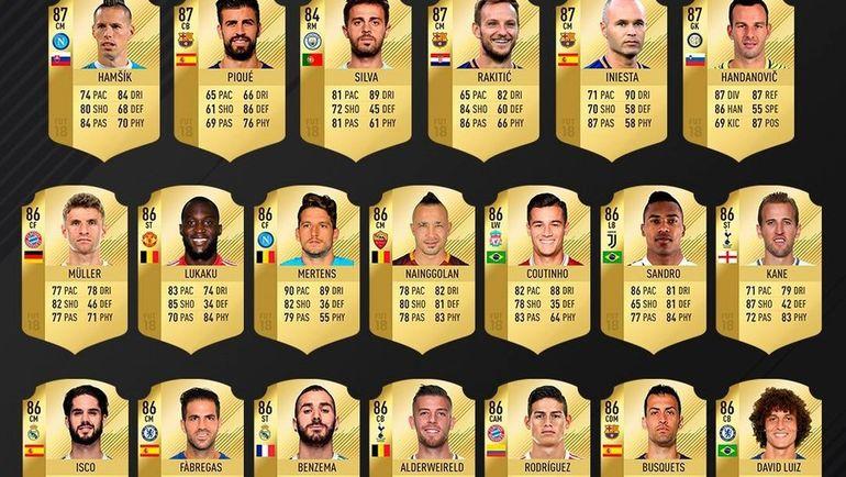 Карточки игроков с 60 по 41 места в Топ-100 FIFA 18. Фото easports.com