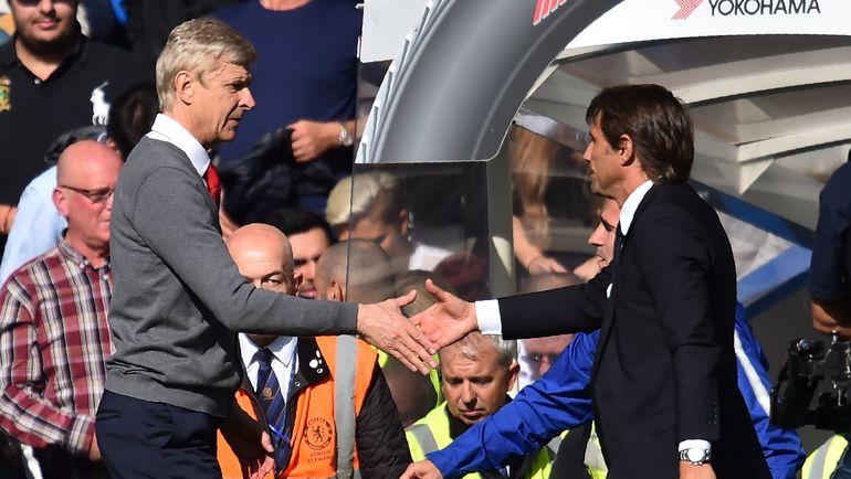 "Сегодня. Лондон. ""Челси"" - ""Арсенал"" - 0:0. Арсен ВЕНГЕР (слева) и Антонио КОНТЕ. Фото AFP"