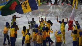 21 августа 2016 года. Рио-де-Жанейро. Делегация из Барбадоса во время церемонии закрытия Олимпиады-2016.