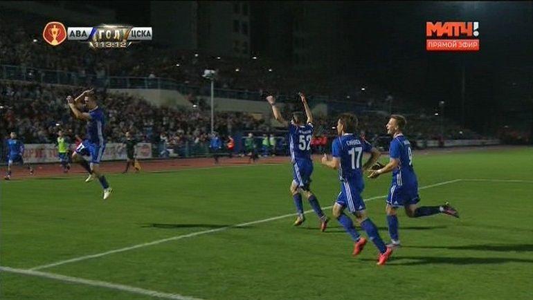 Дмитрий Коробов празднует гол в стиле Криштиану Роналду.