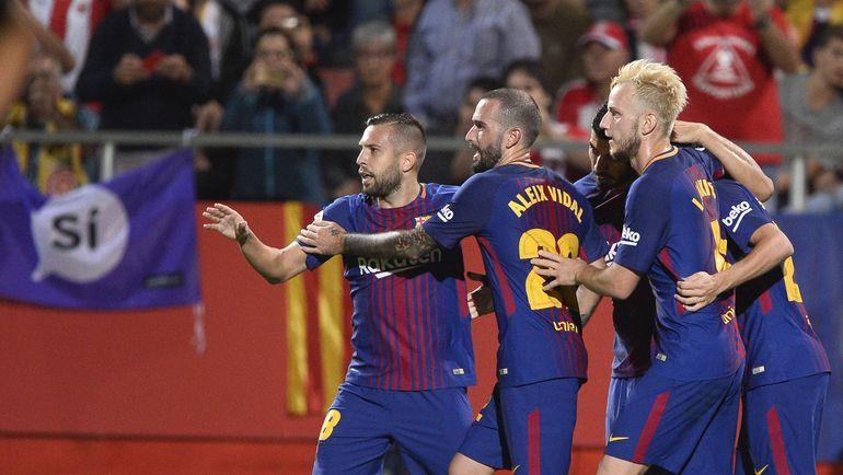 """Вчера. Жирона. """"Жирона"""" - """"Барселона"""" - 0:3. Подопечные Эрнесто Вальверде празднуют очередной гол в ворота соперника. Фото AFP"""