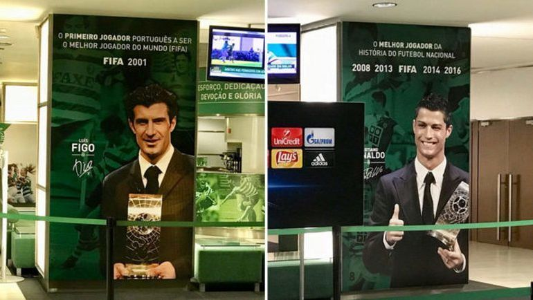 """Плакат, изображающий Луиша Фигу и Криштиану Роналду встречает гостей стадиона  Жозе Алваладе"""". Фото marca.es"""