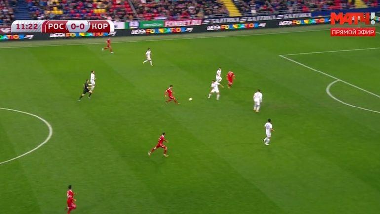 Атака сборной России на 12-й минуте игры с Кореей.