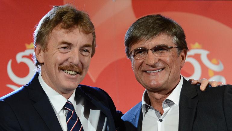 Легенда польской сборной Збигнев БОНЕК (слева) и нынешний главный тренер команды Адам НАВАЛКА. Фото AFP