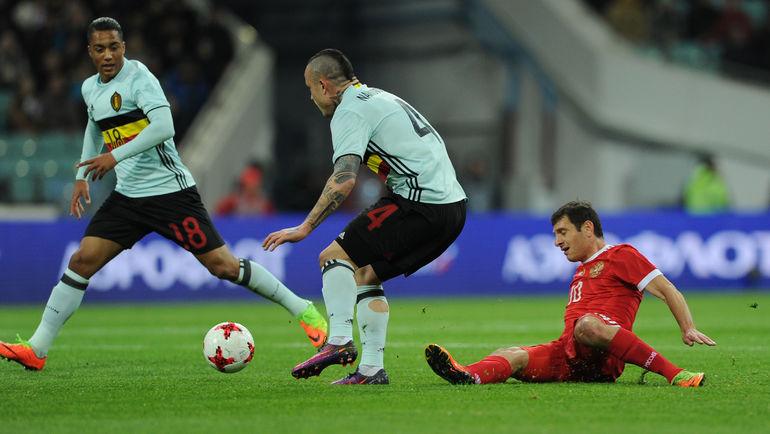 28 марта. Сочи. Россия - Бельгия - 3:3. Алан ДЗАГОЕВ (справа) сыграл лишь 17 минут. Фото Алексей ИВАНОВ