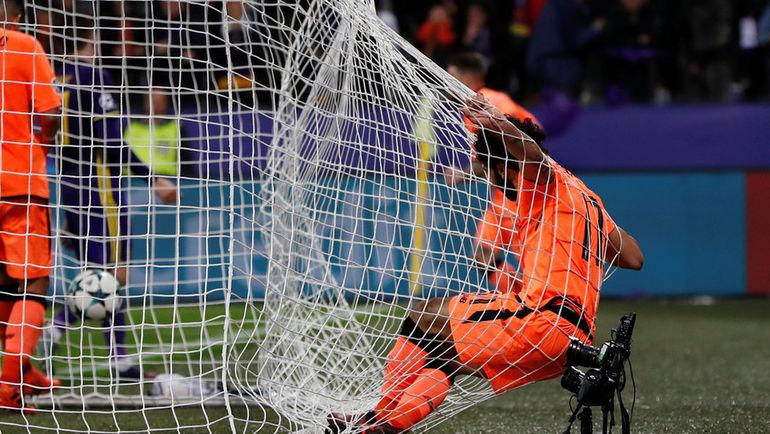 """Вторник. Марибор. """"Марибор"""" - """"Ливерпуль"""" - 0:7. Забивая свой второй и четвертый ливерпульский гол, Мохамад САЛАХ сам оказался в сетке ворот. Фото REUTERS"""