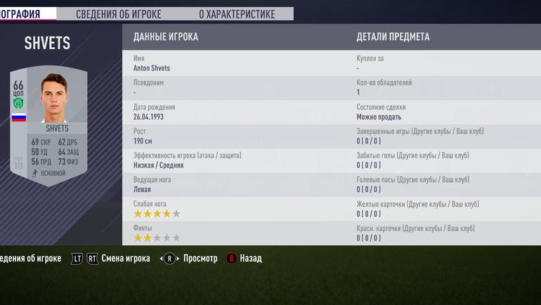 Карточка Антона ШВЕЦА в FIFA 18.