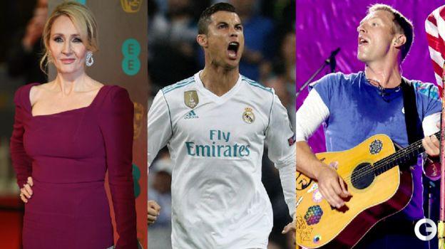 Джоан РОУЛИНГ, КРИШТИАНУ РОНАЛДУ, Крис МАРТИН из группы Coldplay.