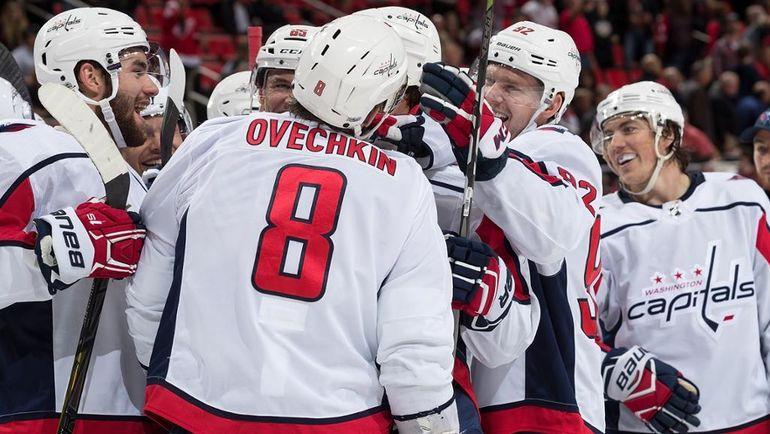 "Сегодня. Детройт. ""Детройт"" - ""Вашингтон"" - 3:4 ОТ. Александр ОВЕЧКИН празднует гол в овертайме. Фото НХЛ"