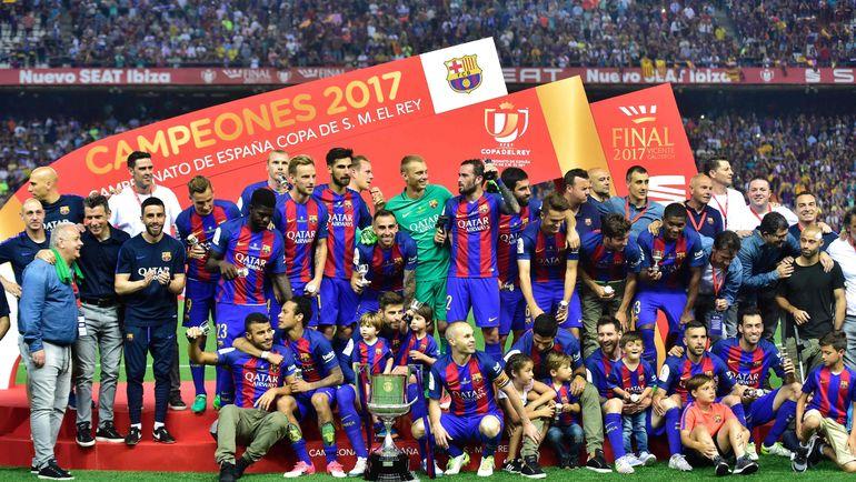 """""""Барселона"""" празднует победу в Кубке Испании-2016/17. Фото AFP"""