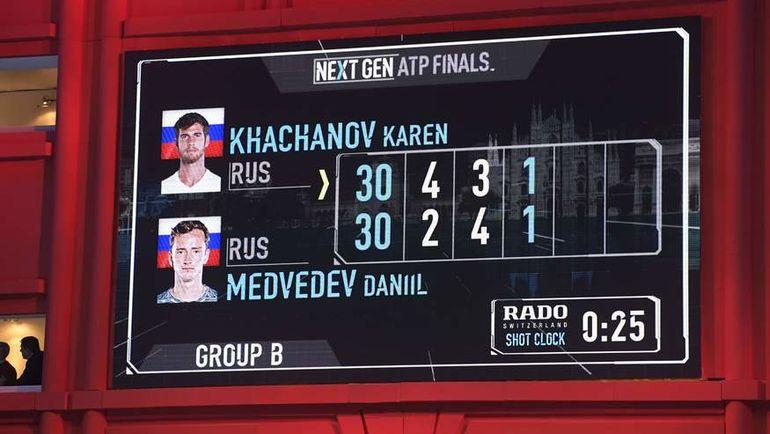 Необычный счет в поединке Next Gen ATP Finals между Кареном Хачанов и Даниилом МЕДВЕДЕВЫМ. Фото AFP