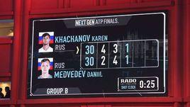 Необычный счет в поединке Next Gen ATP Finals между Кареном Хачанов и Даниилом МЕДВЕДЕВЫМ.