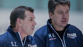 Главный тренер сборной России Олег ЗНАРОК и его помощник Харийс ВИТОЛИНЬШ.