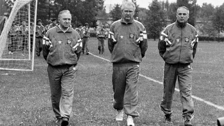 1990 год. Никита Симонян, Валерий Лобановский, Юрий Морозов
