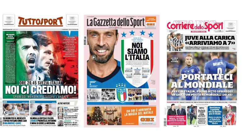 Обложки ведущих итальянских спортивных изданий перед игрой со Швецией.