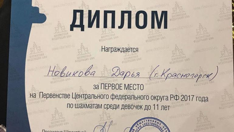 Диплом Дарьи Новиковой.
