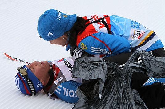 Изабель КНАУТЕ и Александр ЛЕГКОВ. Фото fasterskier.com