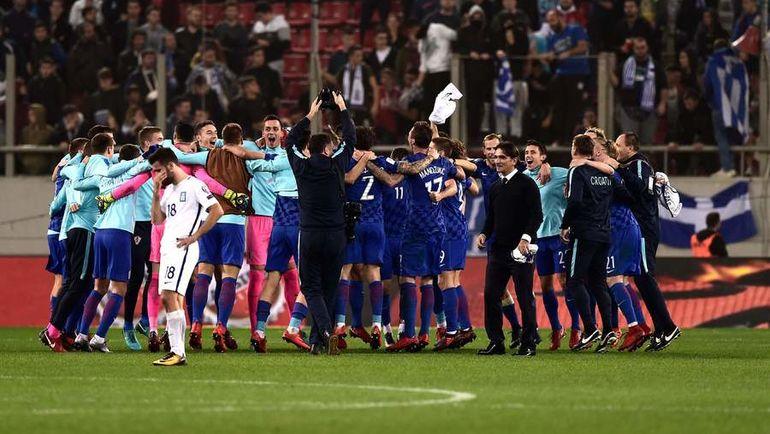 Воскресенье. Пирей. Греция - Хорватия - 0:0. Хорваты празднуют выход на чемпионат мира-2018. Фото AFP