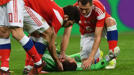 Вторник. Санкт-Петербург. Россия - Испания - 3:3. Андрей ЛУНЕВ получил травму головы в конце матча.