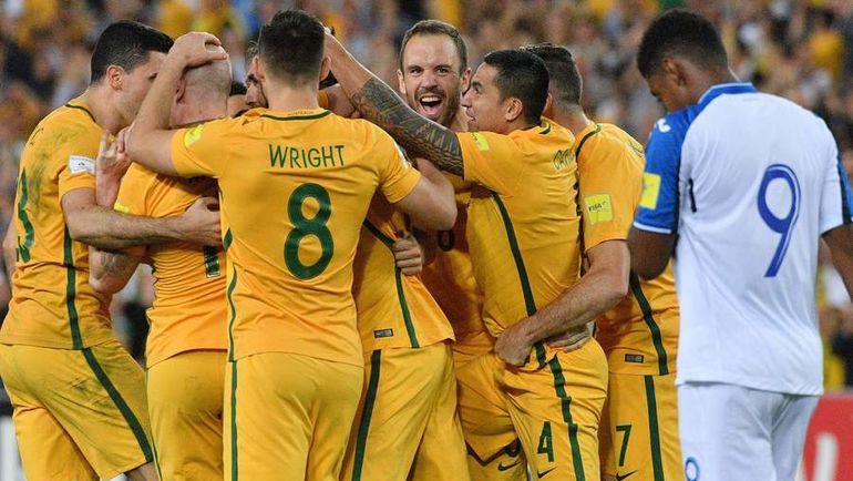 Сегодня. Сидней. Австралия - Гондурас - 3:1. Австралийцы празднуют выход на чемпионат мира-2018. Фото AFP