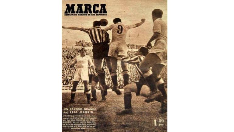 """Обложка еженедельника Marca от 28.12.1947, посвященная победе (5:1) """"Реала"""" над """"Атлетиком"""" (Бильбао)."""
