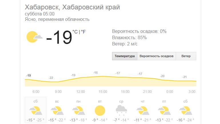 Прогноз погоды в Хабаровске на субботу. Игра должна начаться в 19.00 по местному времени. Фото Google