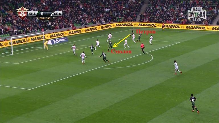 Второй момент Смолова в матче - после прострела с правого фланга он не попал по мячу из выгодной ситуации.