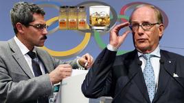 """Профессор Ричард МАКЛАРЕН (справа) в докладе из двух частей с помощью коллеги Григория РОДЧЕНКОВА рассказал о специальной алкогольно-стероидной разработке и списке """"Дюшес"""" для допинг-махинаций во время Игр-2014 в Сочи."""