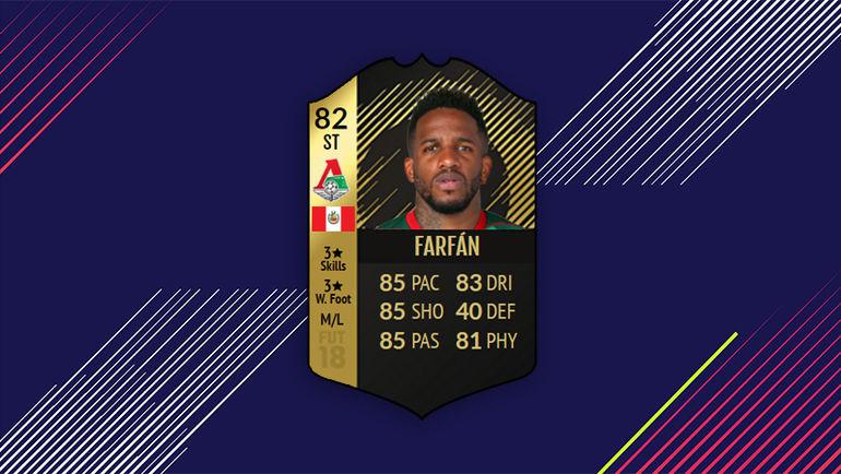 Информ-карточка Джефферсона Фарфана в FIFA 18.