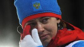9 февраля 2014 года. Сочи. Слезы биатлонистки Ольги ВИЛУХИНОЙ после гонки, в которой она завоевала серебряную медаль.