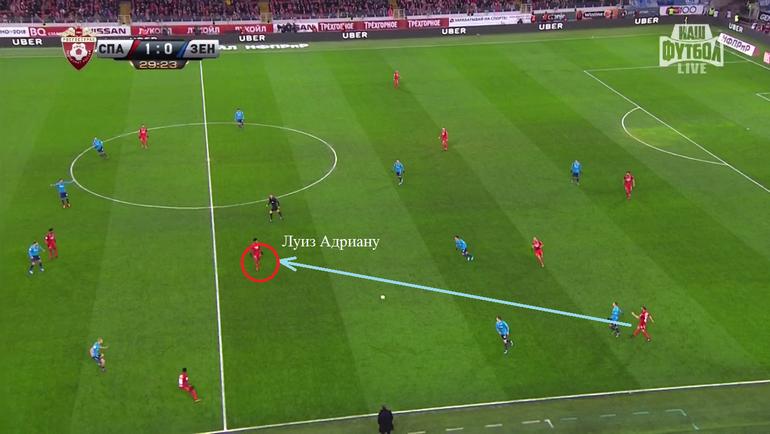 """Перед вторым голом Луис Адриано сам разогнал атаку, найдя пространство между оборонительными линиями """"Зенита"""""""