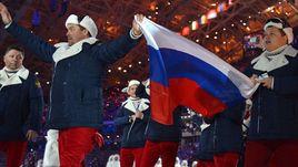 7 февраля 2014 года. Сочи. Делегация сборной России на церемонии открытия Олимпиады.